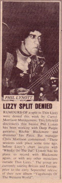 Rumoured Thin Lizzy split.